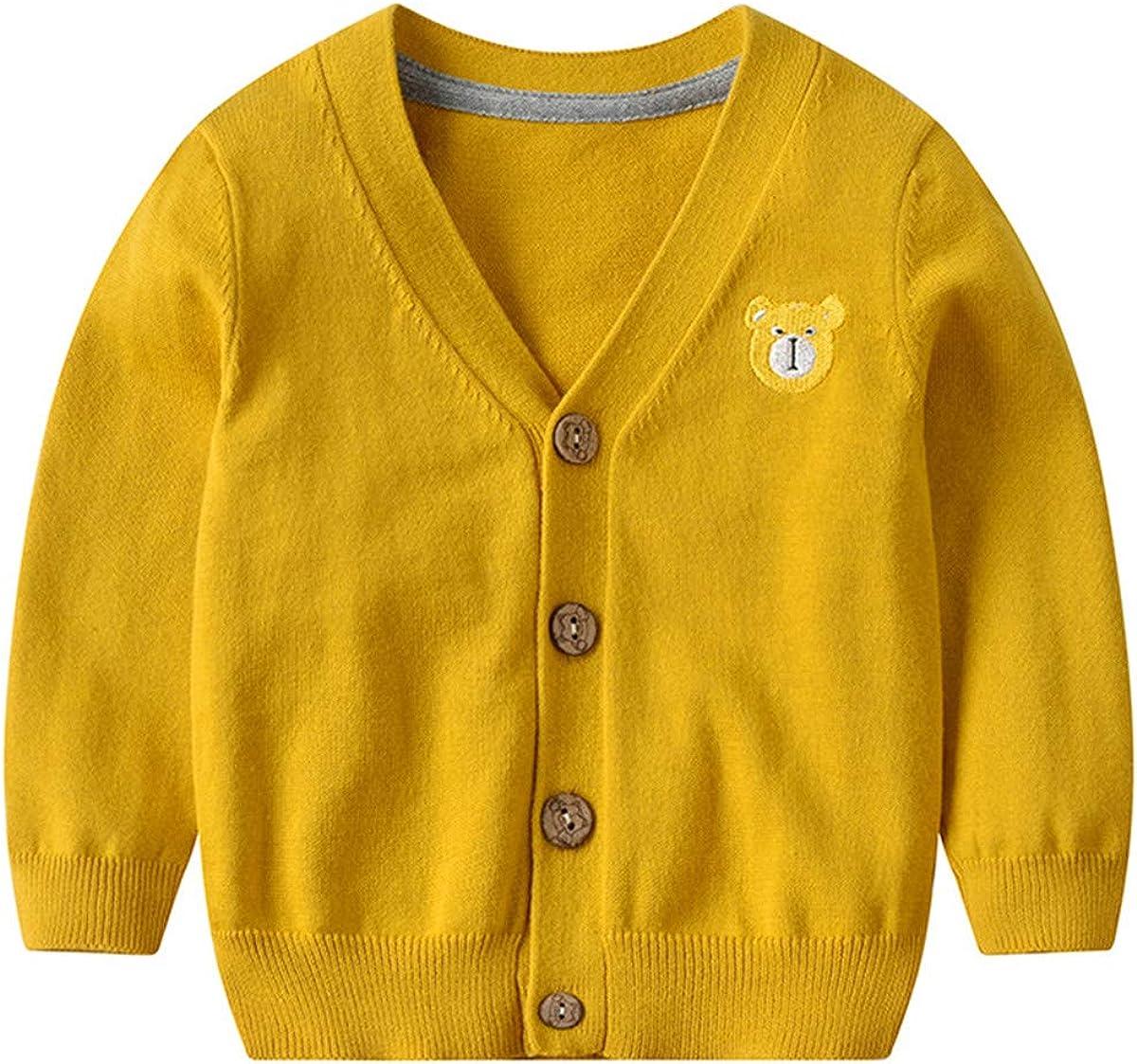 Baby Girls Boys Spring Fall Cute Knit Cardigan Front Button V-Neck Bear Sweatshirt Long Sleeve Sweater