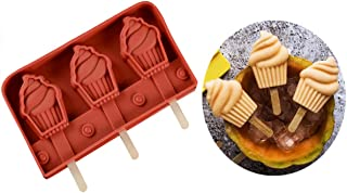 RoseFlower Silicone Ice Cream Mould Reusable Ice Lolly Mold Maker Frozen Dessert Popsicle Tray for Adults Kids, 3-Cavity, ...