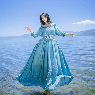 ABDKJAHSDK Summer Off-The-Shoulder Embroidered Ladies Chiffon Maxi Dress