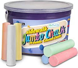 ArtCreativity Jumbo Sidewalk Chalk Set for Kids - 38 Colorful Chalk Pieces in a Storage Bucket - Portable, Dust Free and W...