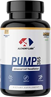 Alchemy Labs - Pump 365 - Nitric Oxide Booster - GlycerPump, GlycerSize, AstraGin, L Norvaline, Vanadyl Sulfate, Glycerol, Muscle Building, Pump Supplement, 210ct Pills