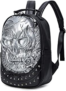SAIPULIN Men and Women Street Creative Personality Shoulder Bag Three-Dimensional Relief Skull Punk PU Backpack Schoolbag (Color : Silver)