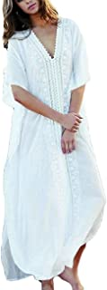 Women Bathing Suits Cover Up Ethnic Print Kaftan Beach Maxi Dress