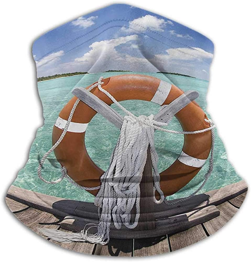 Hair Scarf Buoy Decor For Winter Multifunctional Life Buoy On Jetty Summer Sky Sunshine Exotic Tropical Weather On Seashore