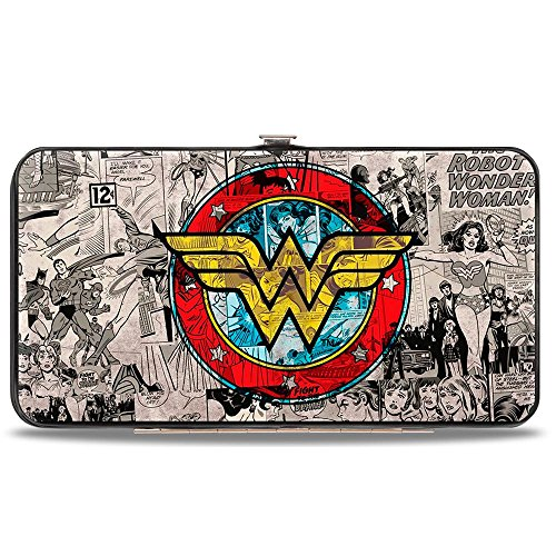 Buckle-Down womens Buckle-down Hinge - Wonder Woman Logo/Comic Scenes Grays/Blue/Red/Yellow Wallet, Multicolor, 7 x 4 US
