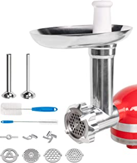 X Home Meat Grinder Attachment for KitchenAid, Metal Food Grinder Include 2 Sausage Stuffer Tubes and 3 Grinding Plates