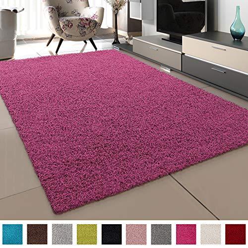 SANAT Teppich Wohnzimmer - Rosa Hochflor Langflor Teppiche Modern, Größe: 80x250 cm