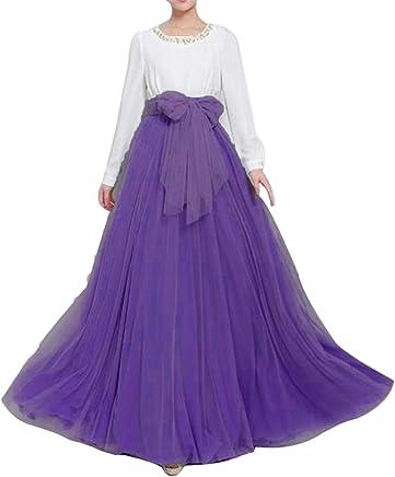 e33cc3a6cf Women Wedding Long Maxi Puffy Tulle Skirt Floor Length A Line with Bowknot  Belt High Waisted