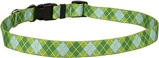 Yellow Dog Design Standard Easy-Snap Collar, Lime Green Argyle