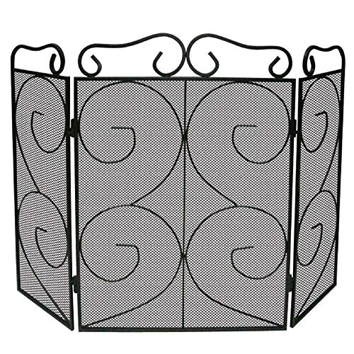 LUNALUKA 3-Panel Scroll Heavy Duty Fireplace Screen Safety Fire Place Fence Spark Guard Cover