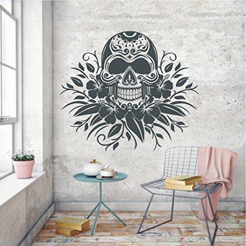 HomeTattoo ® WANDTATTOO Wandaufkleber Totenkopf Skull Blumen Blüte Ornament Tattoo 504 XL ( L x B ) ca. 58 x 67 cm (schwarz 070)