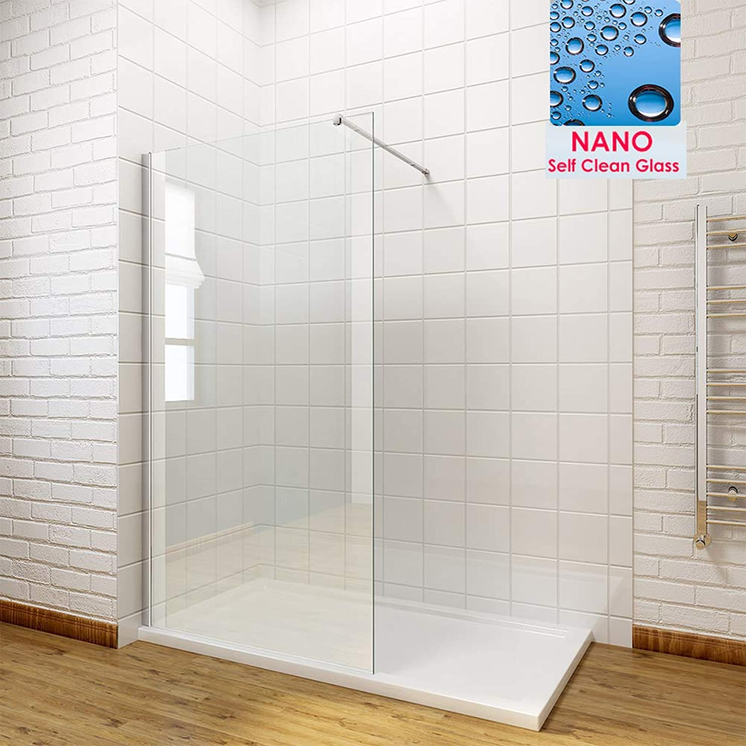 700mm Wet Room Shower Screen Panel 8mm Easy Clean Glass Walk in Shower Enclosure