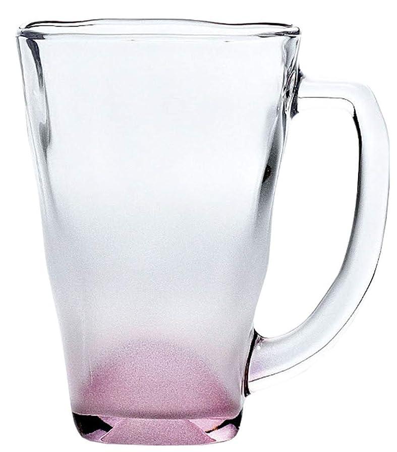 デザイナー疲労センチメンタル東洋佐々木ガラス マグ ピンク 390ml 泡立ちぐらす 山 日本製 食洗機対応  P-55441-J142S