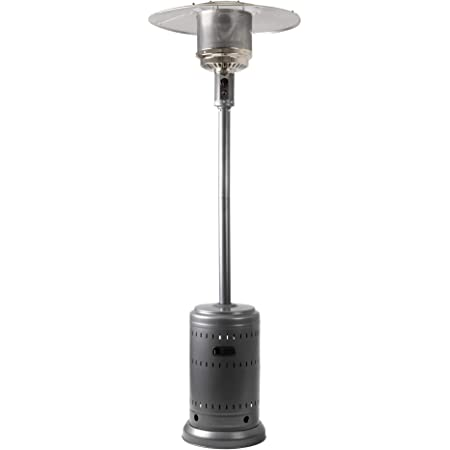 Amazon Basics 46,000 BTU Outdoor Propane Patio Heater with Wheels, Commercial & Residential - Slate Gray
