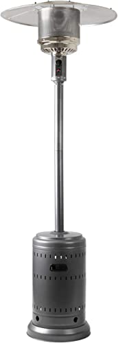 Amazon Basics Outdoor Patio Heater with Wheels, Propane 46,000 BTU, Commercial & Residential - Slate Gray