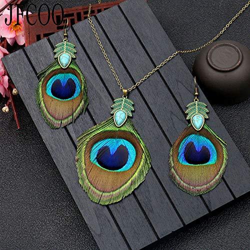 FUKAI Neue Einfache Modeschmuck Set Retro Pfauenfeder Halskette Ohrringe 1 Sets Frauen Ethnische Lange Ohrringe Aussage Halsketten Anhänger Geschenke