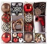 HEITMANN DECO 31er Set Christbaumkugeln Sortiment - Weihnachtsschmuck zum Aufhängen - Kunststoff Christbaumschmuck rot Natur Silber