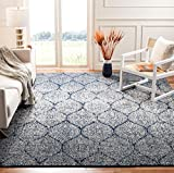Safavieh Madison Collection MAD604G Geometric Ogee Trellis Distressed Area Rug, 5' 1' x 7' 6', Navy/Silver