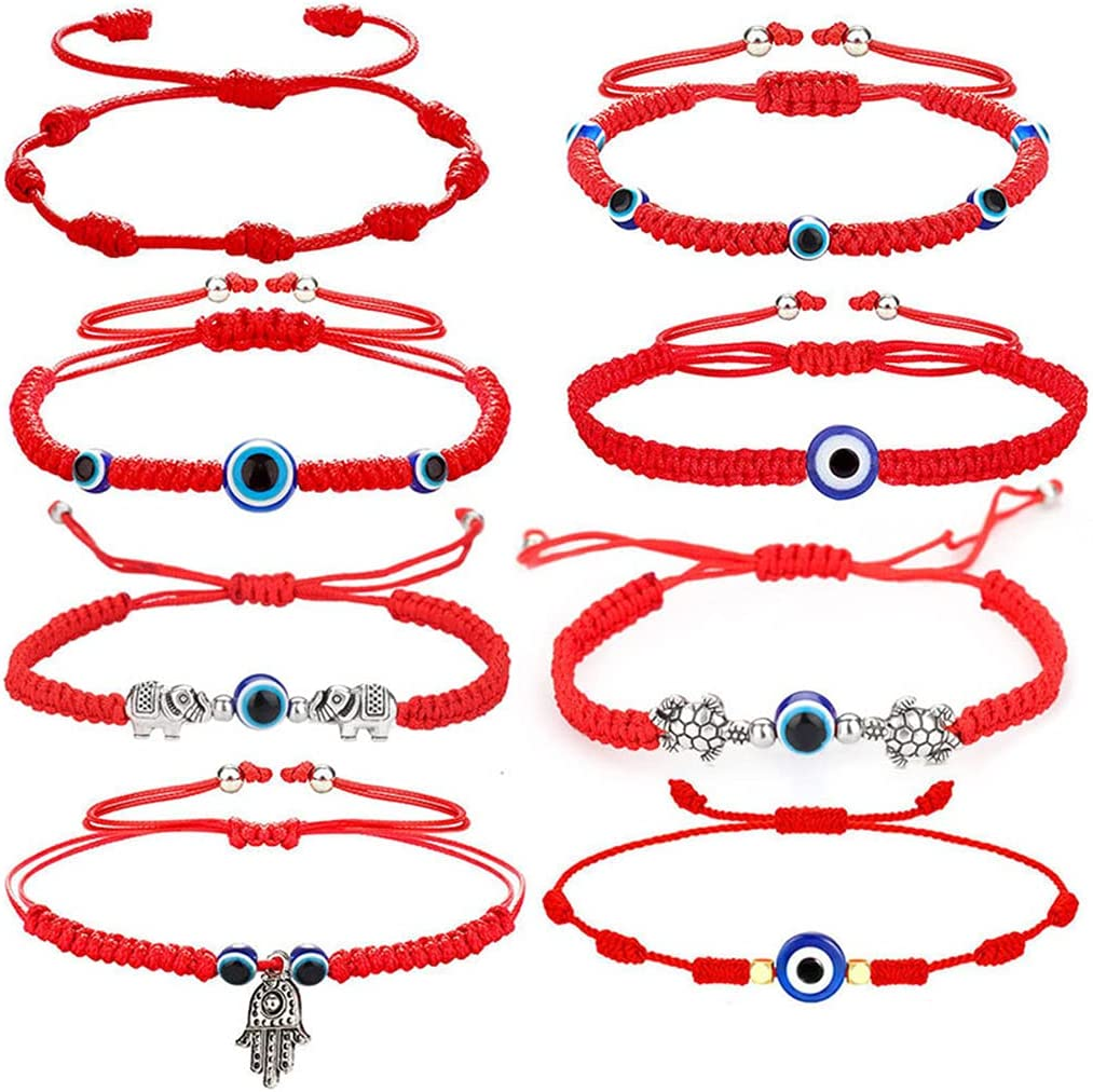 8 Pcs Evil Eye Lucky Bracelets Hamsa Hand-Woven Adjustable Knot String Red Rope Braided Bracelet Friendship Charm Anklet Protection Good Luck Women Girl Jewelry Gifts