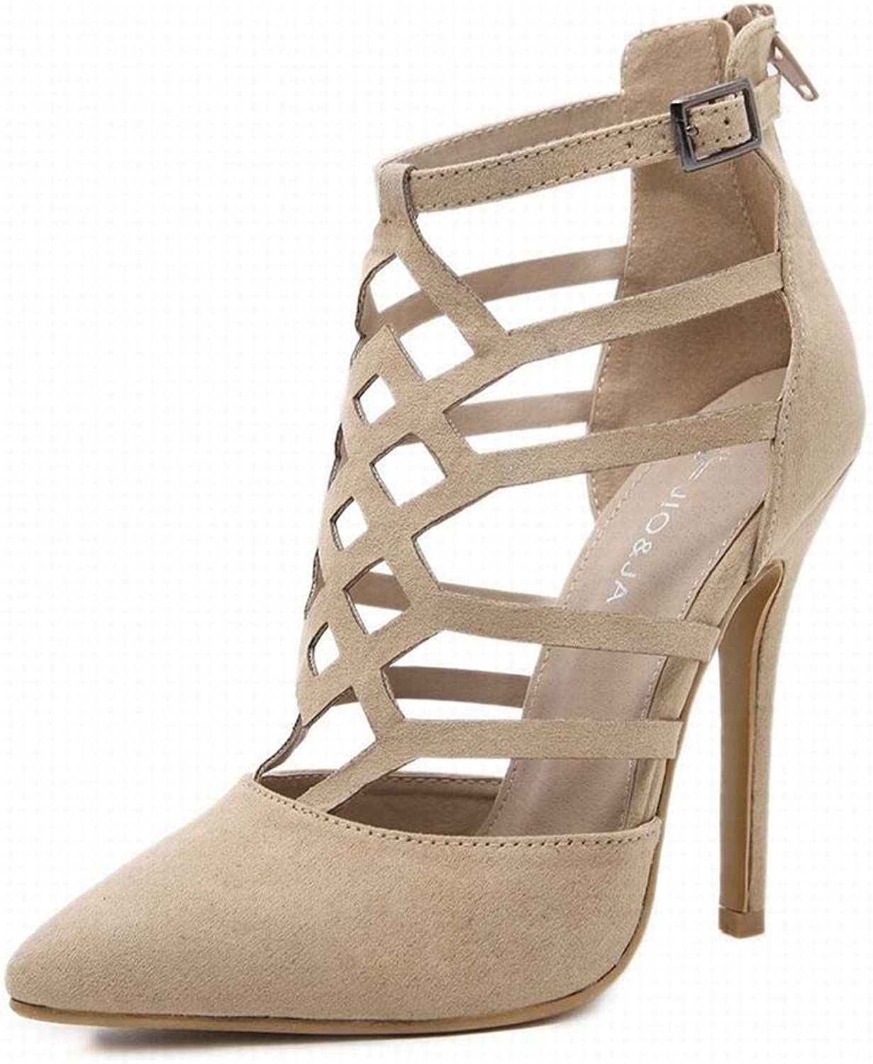YUKILO Women's Suede High Heels Sexy Hollow Pointed High-top Sandals (color   Aprikosen, Size   39)
