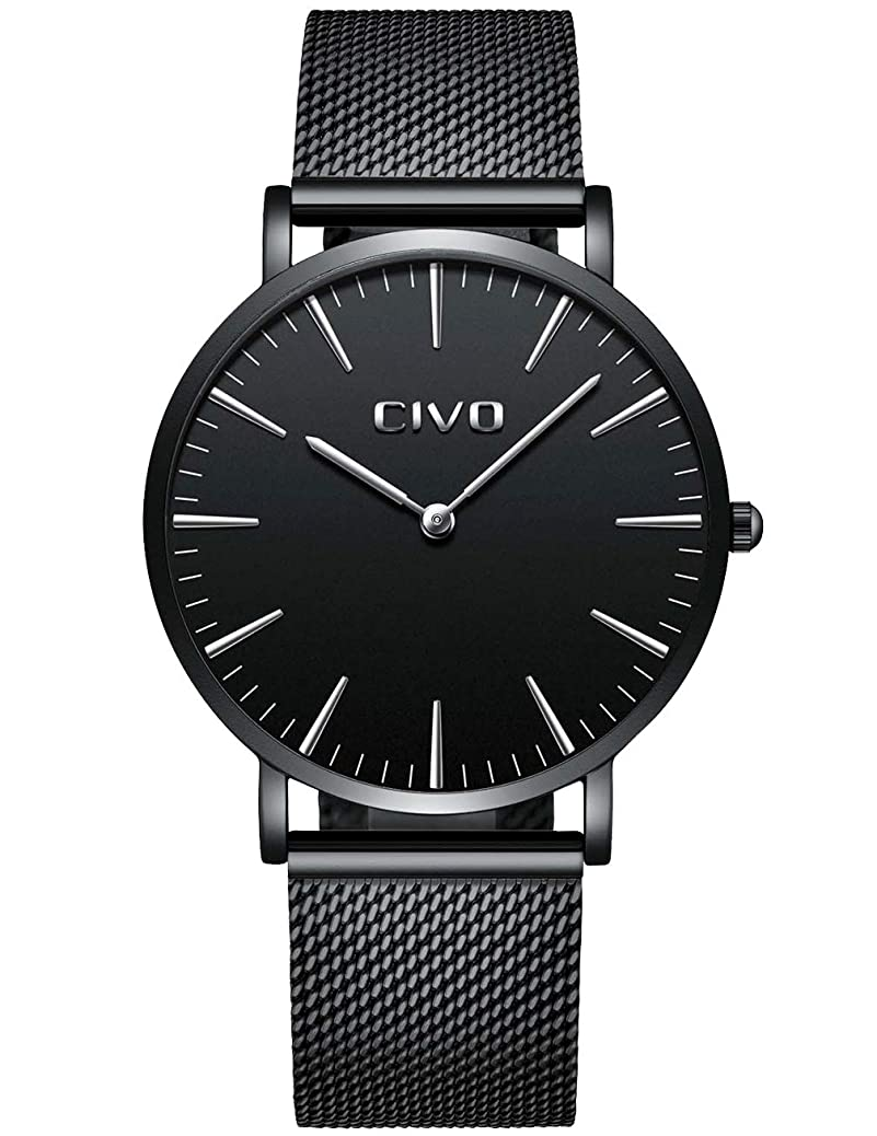 CIVO Mens Watches Ultra Thin Minimalist Black Waterproof Watch Gents Luxury Fashion Casual Dress Quartz Wrist Watch for Men with Stainless Steel Mesh Band xllg8407611333
