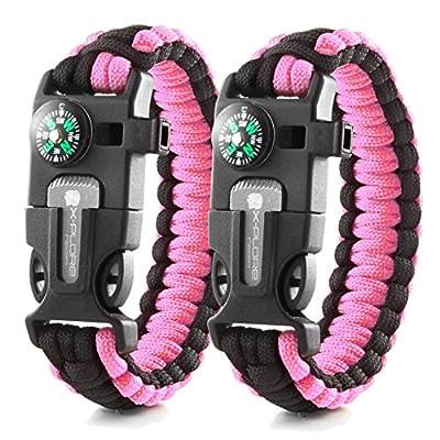 X-Plore Gear Emergency Paracord Bracelets | Set of 2| The Ultimate Tactical Survival Gear| Flint Fire Starter, Whistle, Compass & Scraper | Best Wilderness Survival-Kit - Pink(K)/Pink(K)
