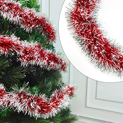 TURNMEON 5 Pack Christmas Tinsel Garland Decoration Total 33 Feet Metallic Streamers Xmas Tree Decor Holiday New Years Eve Xmas Party Supplies Indoor Outdoor Home Decor, Each 6.6Ft by 4Inch (Red)