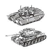 Moutu 2 unids set 3D Metal Puzzle JS-2 Iwan MK50 tanque modelo kit DIY 3D corte láser montar rompecabezas juguete
