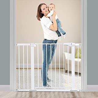 Safety Gate Baby Gate, Extra Wide Baby Gate Suitable for 75-104 cm, with 20cm Extension Kit, Auto Close Indoor Safety Gate...
