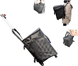 Shopping Bag With Wheels Backpack Straps - Fineget Folding Utility Trolley Grocery Cart Telescoping Handle for Women Travel Trip Vacations Camping Beach Play Picnic Laundry Luggage School Cool Black