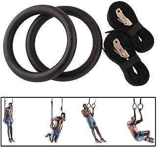 MorNon Un Par de Anillos de Gimnasia Anillos de Gimnasia Olímpica Anillo de Entrenamiento Gimnástico Músculos de Entrenamiento Fuerza de Entrenamiento Capacidad de Carga es de 400kg Negro