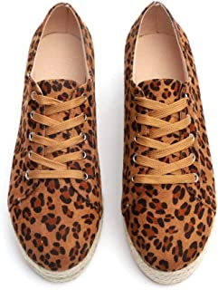 MORER Womens Round Toe Leopard Low Top Lace up Canvas Sneakers Comfortable Walking Shoes Platform Sneakers