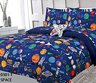 6 Piece Twin Size Kids Boys Teens Comforter Set Bed in Bag with Shams, Sheet Set and Decorative Toy Pillow, Space Planets Rockets Blue Print Blue Multicolor Boys Kids Comforter Bedding Set w/Sheets
