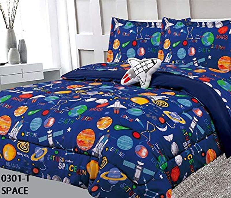 6 Piece Twin Size Kids Boys Teens Comforter Set Bed In Bag With Shams Sheet Set And Decorative Toy Pillow Space Planets Rockets Blue Print Blue Multicolor Boys Kids Comforter Bedding Set W Sheets