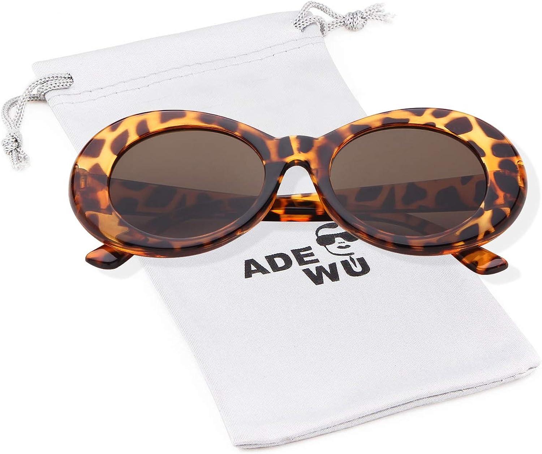 ADEWU Clout Goggles, Lunettes de Soleil Ovales Léopard