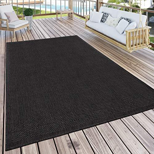 Paco Home Alfombra Exterior Terraza Y Balcón Cocina Lisa Moderno Negro, tamaño:200x280 cm