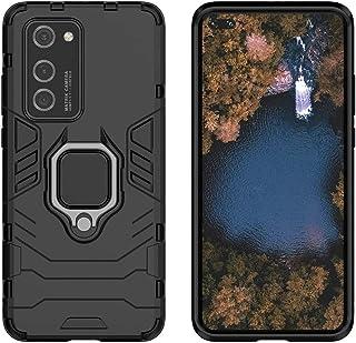 حافظة حماية هاتف مع حلقة اصبع تدور حول محورها بزاوية 360 درجة وحامل مسند لاجهزة هواوي بي 40 برو - باللون الاسود