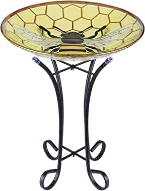 MUMTOP Glass Bird Bath Bird Baths for Outdoors with Metal Stand for Garden, Yard, Lawn Decor Bee Pattern(Yellow, 21.5''X18'')