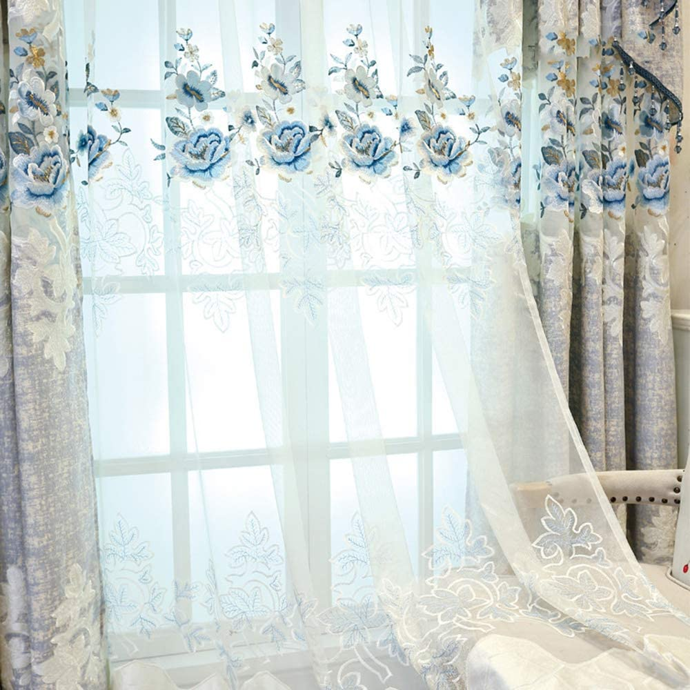 pureaqu Extra 新作 大人気 Wide 5%OFF Blue Floral Panels Curtain Sheer Embroidered