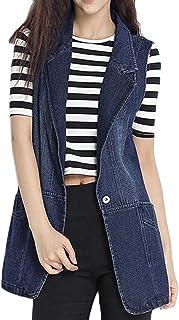 Macondoo Women's Jacket Denim Plus Size Outwear Sleeveless Waistcoat Vest