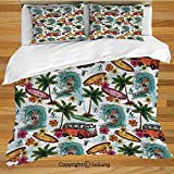 Juego de funda nórdica para ropa de cama Ocean Decor, Hawaiian Decor Surfer on Wavy Deep Sea Retro Palms Flowers Surf Boards Print Juego de cama decorativo de 3 piezas con 2 fundas de almohada, multic