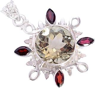 Ravishing Impressions Jewellery Colgante de plata de ley 925 con amatista verde y granate, atractivo regalo para ella FSJ-...