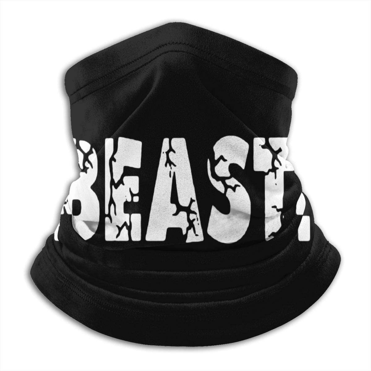 Beast Letter Muscle Black Multi-function Neck Warmer Gaiter Polyester Neck Warmer Windproof Winter Neck Gaiter Cold Weather Scarf For Men Women