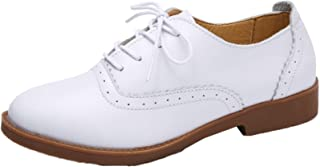Women Derby Shoes Retro Breathable Solid Color Round Toe Leather Lace up Flats Ladies Work Casual Oxford Brogue Shoes