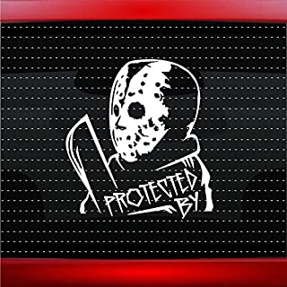 Noizy Graphics Protected by Jason Vorhees Funny Car Sticker Truck Window Vinyl Decal Color: White