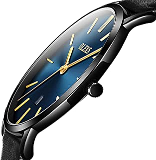 Top Amazon Watches,Mens Thin Watches,Simple Leather Watch Men Wrist Watch Rose Gold Casual Watches for Men,Analog Quartz Business Watch with Date