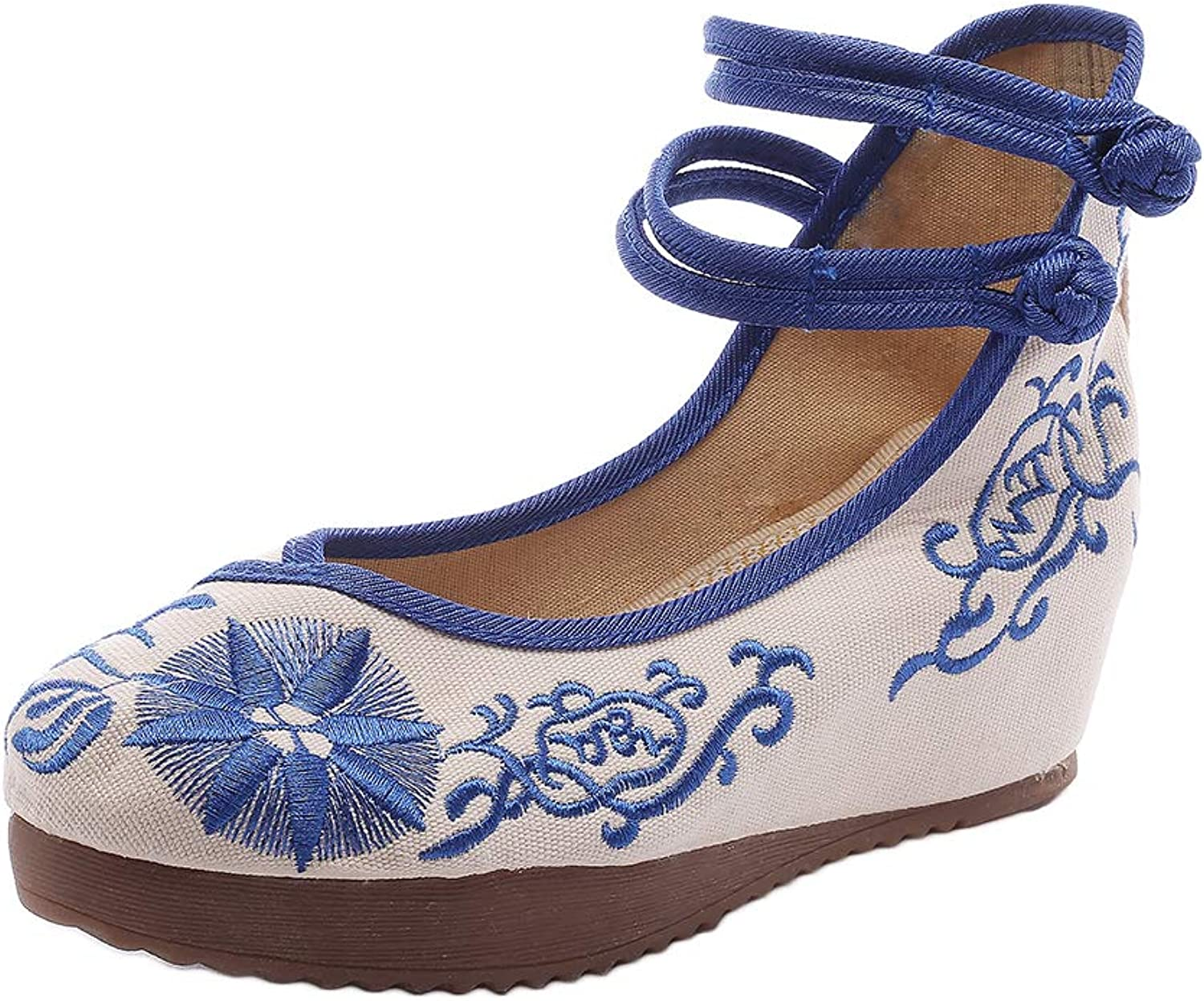 AvaCostume Women's Embroidery Strappy Round Toe Platform Wedges bluee