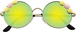 Emblem Eyewear - Flower Sunglasses Hippie Boho Festival Circle Round Sunglasses