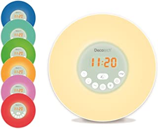 Lexibook Decotech Sunrise Colour Alarm Clock, Wake-up Light, FM Radio, Bedside lamp, Sunrise and Sunset Simulation, 6 Natu...