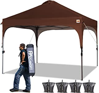 ABCCANOPY Canopy Tent 10x10 Pop Up Canopy Instant Tents Outdoor Canopies Popup Beach Canopy Shade Canopy Tent with Wheeled Carry Bag Bonus 4 Weight Bags, 4 x Ropes& 4 x Stakes, Brown